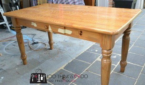 table makeover, refinished table, painted table, desk makeover, painted desk, refinished desk, pine table , gray table, grey table