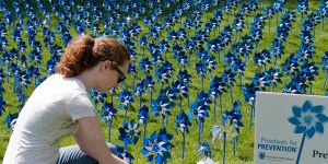 "Penn State student Tara Gaab in ""Pinwheels for Prevention"" garden, part of a spring fundraiser for Prevent Child Abuse Pennsylvania."