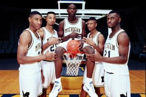 The Fab Five helped the University of Michigan win NCAA championships in 1992 and 1993. From left in 1991, Jimmy King, Juwan Howard, Chris Webber, Jalen Rose and Ray Jackson.