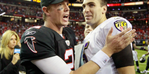 Quarterbacks Matt Ryan (left) and Joe Flacco (right) both apart of teams with several offseason moves.