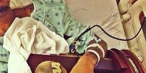 Kevin Ware resting after severe leg injury.