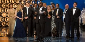 """Steve McQueen, director of """"12 Years a Slave,"""" thanks his family, the cast and producer/actor Brad Pitt after the film wins the Oscar for Best Motion Picture."""