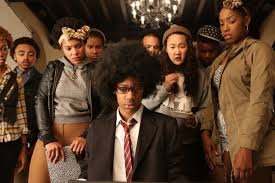 "A scene from the satirical film ""Dear White People."""