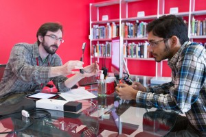 Arpan Chakraborty, a  graduate student in computer science, checks out a pair of  Google Glass from the library at North Carolina State University.