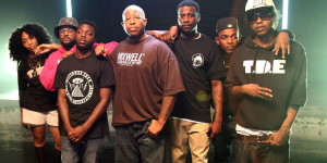 Top Dawg Entertainment from left to right: SZA, Schoolboy Q, Isaiah Rashad, DJ Premier, Jay Rock, Kendrick Lamar and Ab-Soul.