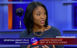 Keneshia Grant, Ph.D., discusses the presidential election and fellow millennials on WHUT-TV in Washington.