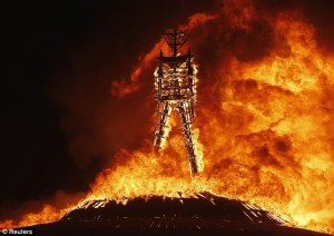 Inferno: The Man burns during the Burning Man 2013 arts and music festival in the Black Rock Desert of Nevada on August 31, 2013