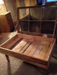Recycled Pallet and Old Window Coffee Table | 101 Pallets