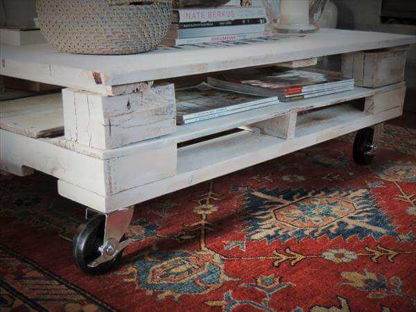 White Pallet Coffee Table table with wheels shabby chic pallet coffee table with storage