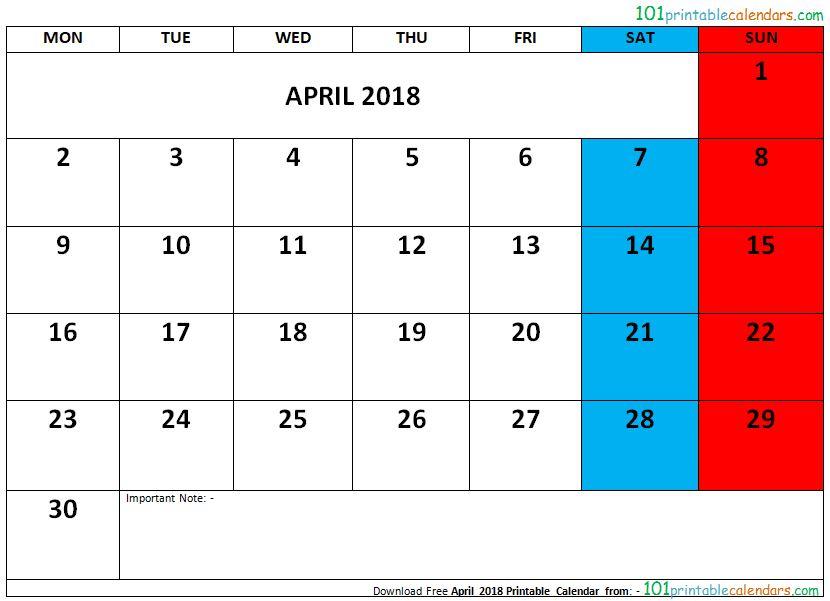 April 2018 Printable Calendar - printable calendar