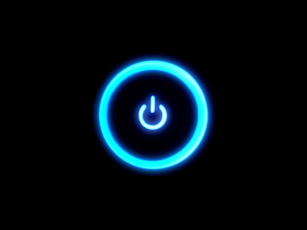 Debian Lamp Computers - Blue Power Button On Black - Ipad Iphone Hd