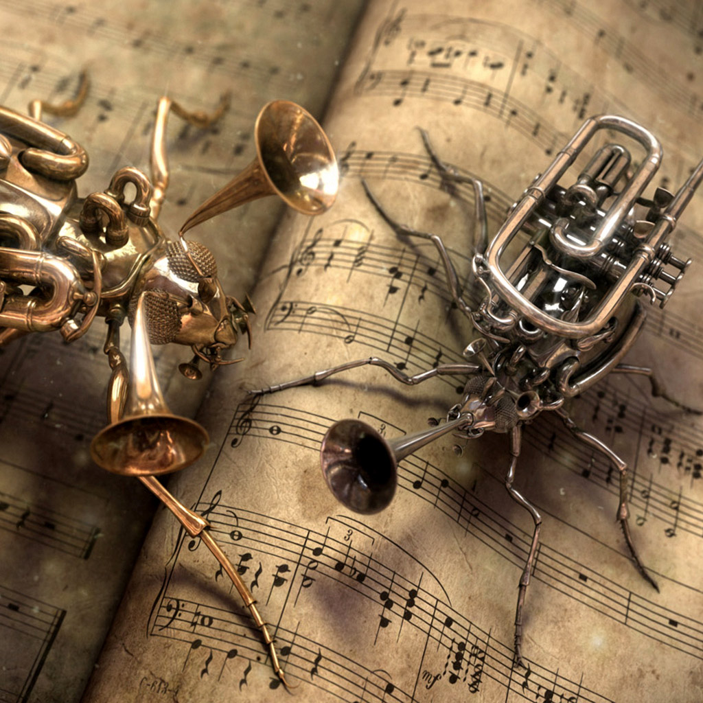 Back To The Future Iphone X Wallpaper Cg Fantasy Trumpet And Cornet Steampunk Bugs Ipad
