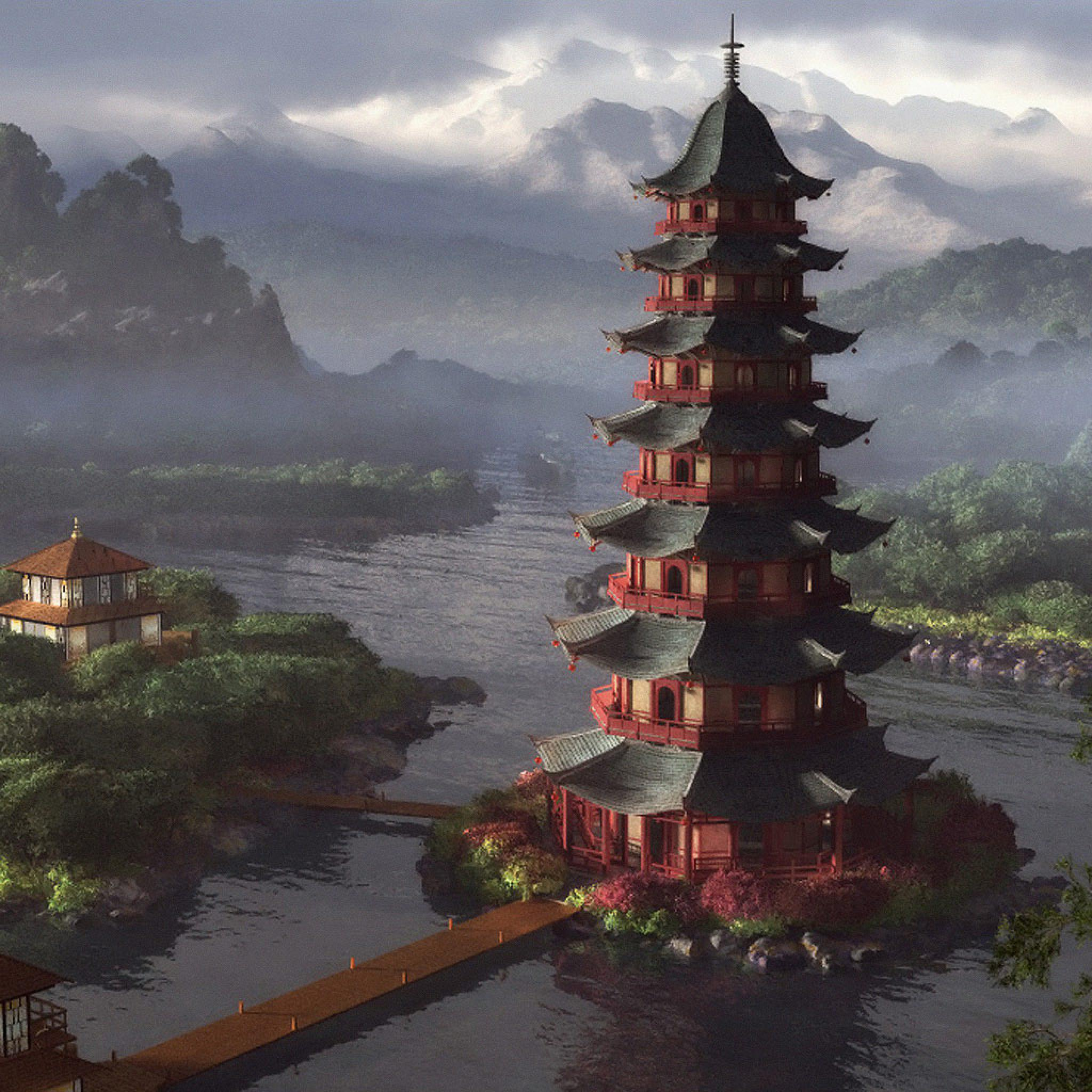 Magic Touch 3d Wallpaper Cg Fantasy Chinese Pagoda Temple Ipad Iphone Hd