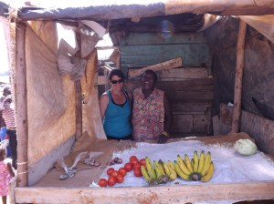Agnes, who we met on our very first visit, has a new produce stand in a great location. She didn't have much yet - one of her (7) kids had gone to the market for her and hadn't gotten back. But I know she'll do great, as she has with everything she's done so far.