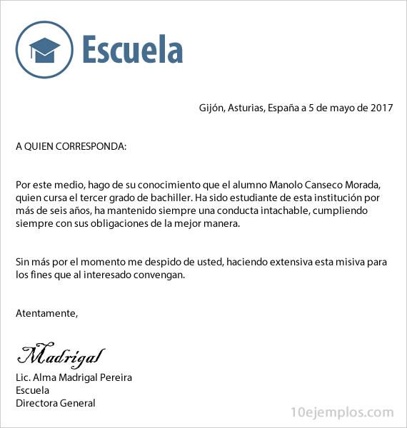 Ejemplos De Carta De Buena Conducta 10ejemplos masterlist