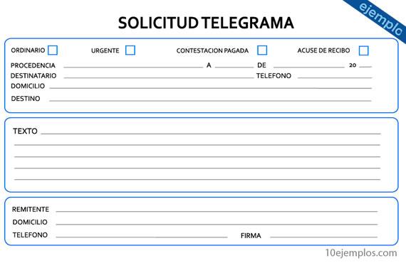 Ejemplos de Telegrama
