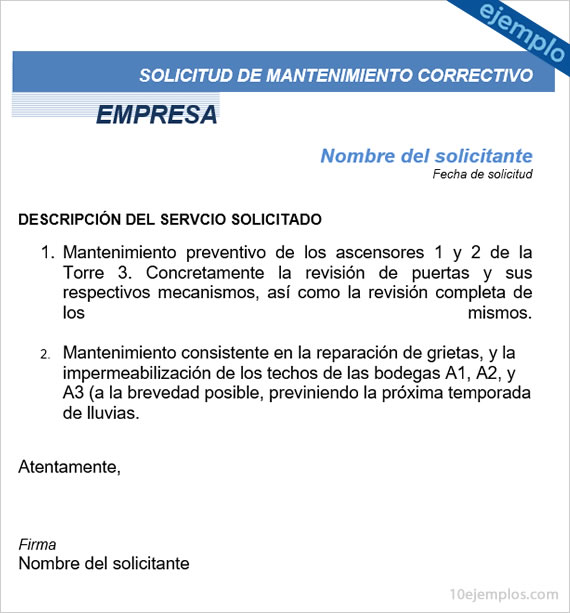 Ejemplos de Formato de Solicitud de Mantenimiento - formato de informe escrito