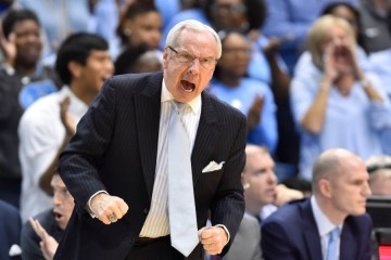 Feb 17, 2016; Chapel Hill, NC, USA;North Carolina Tar Heels head coach Roy Williams reacts in the first half game at Dean E. Smith Center. Mandatory Credit: Bob Donnan-USA TODAY Sports