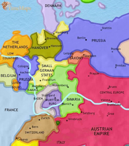 Map of Germany at 1837AD TimeMaps