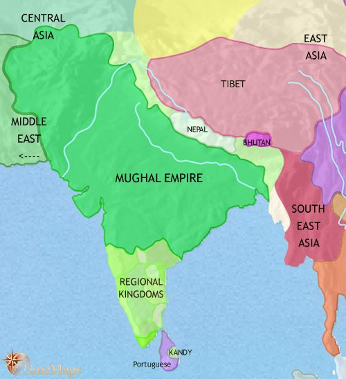 History of India and South Asia 1648 CE, under the Mughal empire - mughal empire