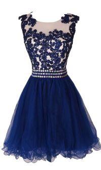 Lovely Navy Blue Short Lace Applique Prom Dresses 2016 ...