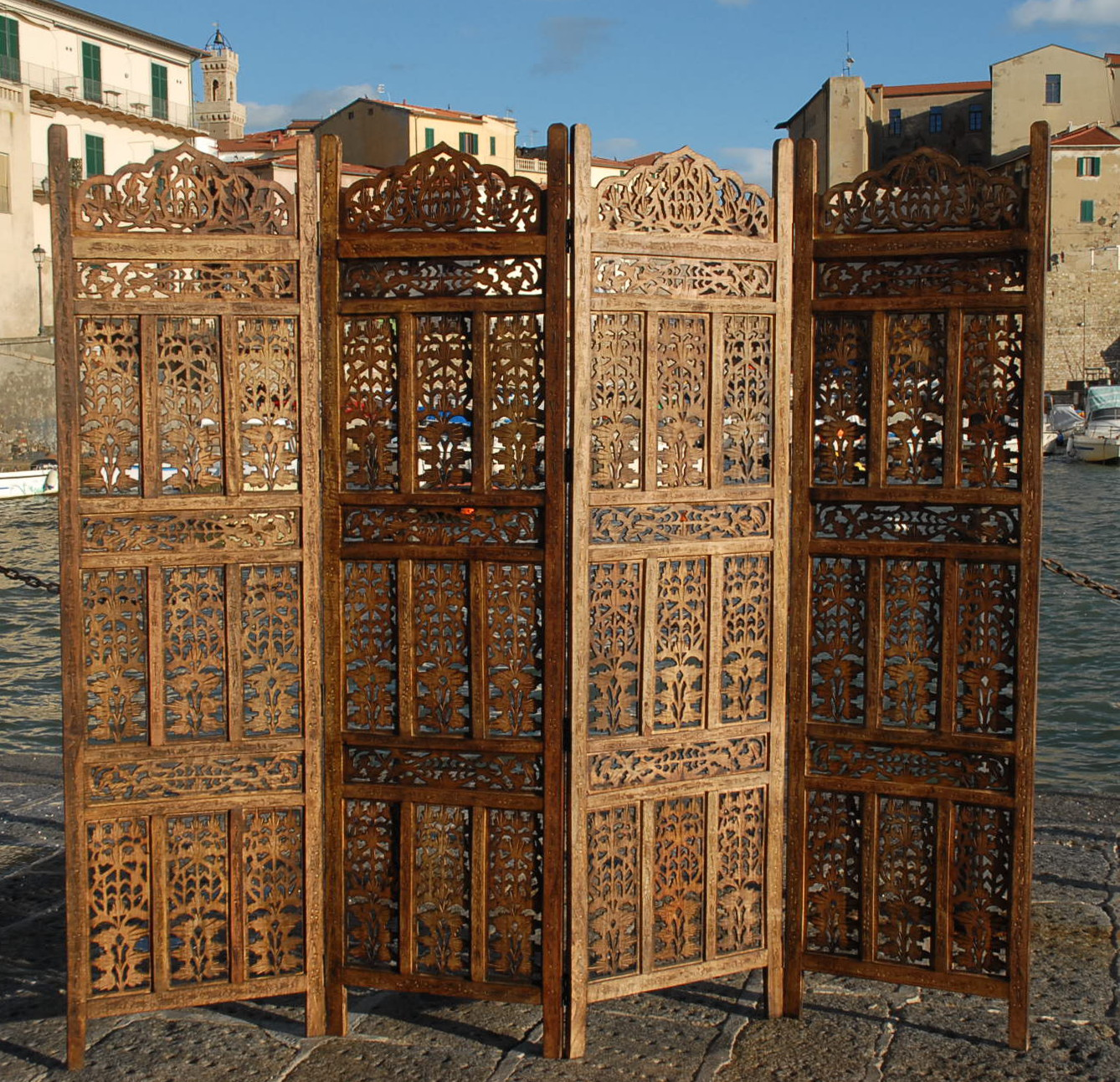 Parvent Paravent 4 Panel Indian Hand Carved Wooden Screen Room