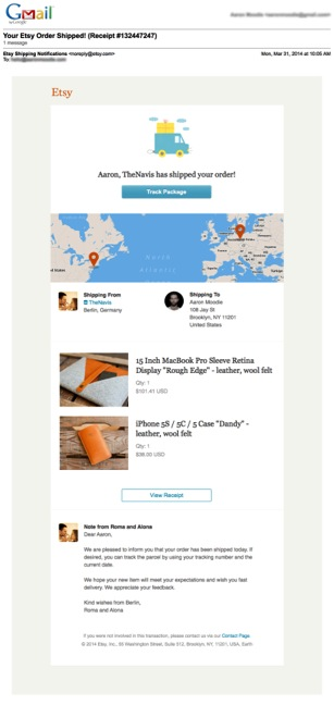 Shipping Confirmation Email Tips - shipping information template
