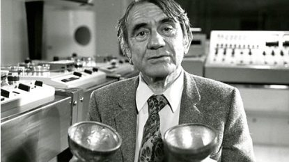Pierre Schaeffer at the GRM Studio, Paris France