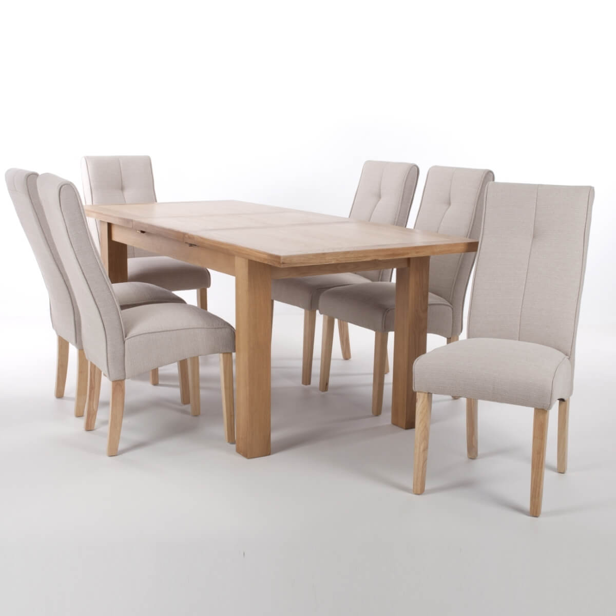 Extending Oak Table Dining Set Shankar Solid Oak Extending Dining Table And 6 Linea Cream Dining Chairs