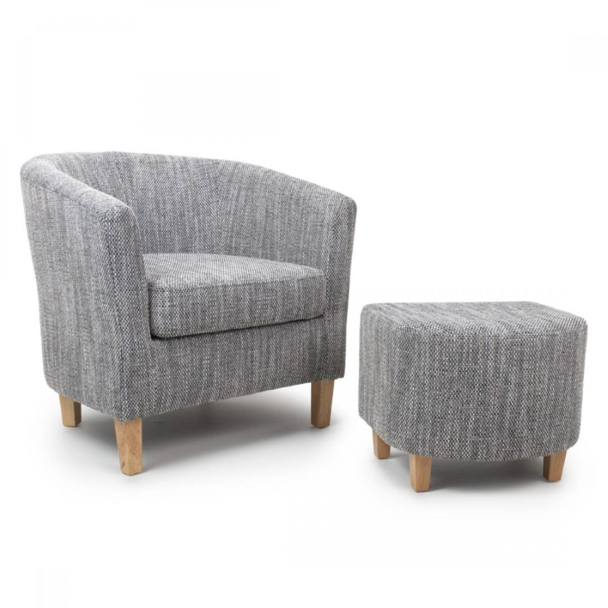 Tub Chairs Armchair Shankar Grey Tweed Tub Chair And Stool Set 057 03 41 05 01