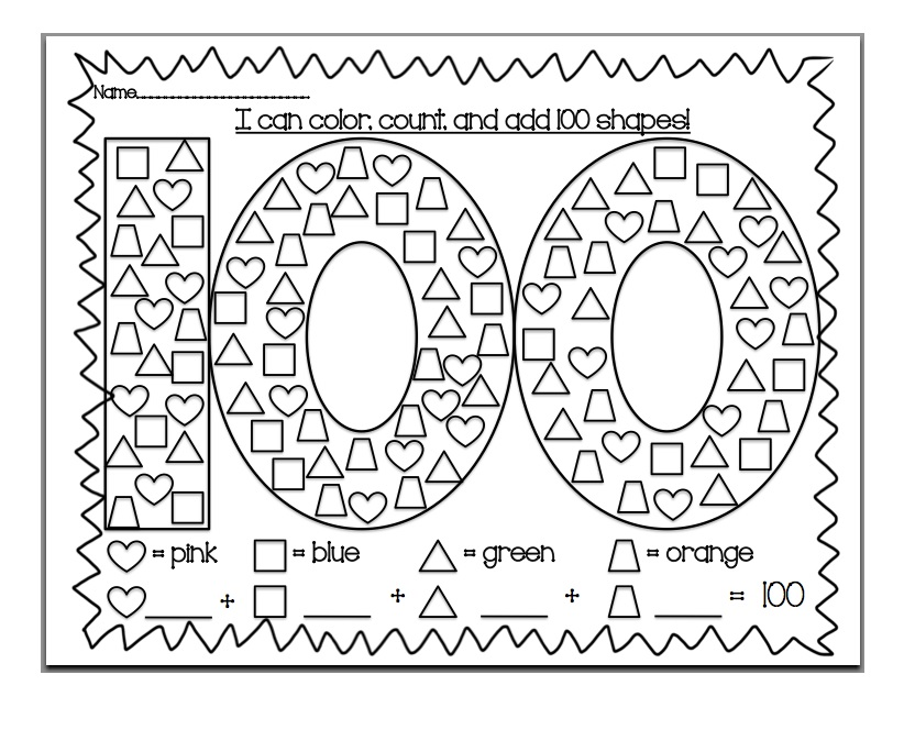 100th Day Of School Coloring Printable free printable 100th day – 100th Day of School Math Worksheets