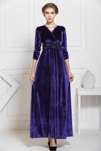 Navy Blue Winter Formal Velvet Long Maxi Dress on Luulla