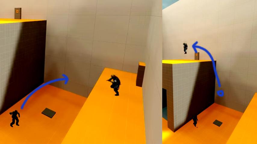 Flashbang Jumping - 1. Flashbang is thrown into jump path - 2. Second player jumps on flashbag