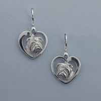 Sterling Silver Bulldog Earrings, 14k
