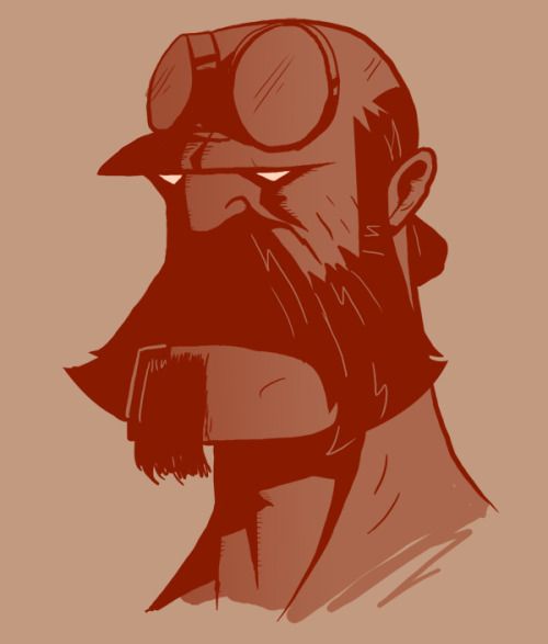 Hellboy with a moustache