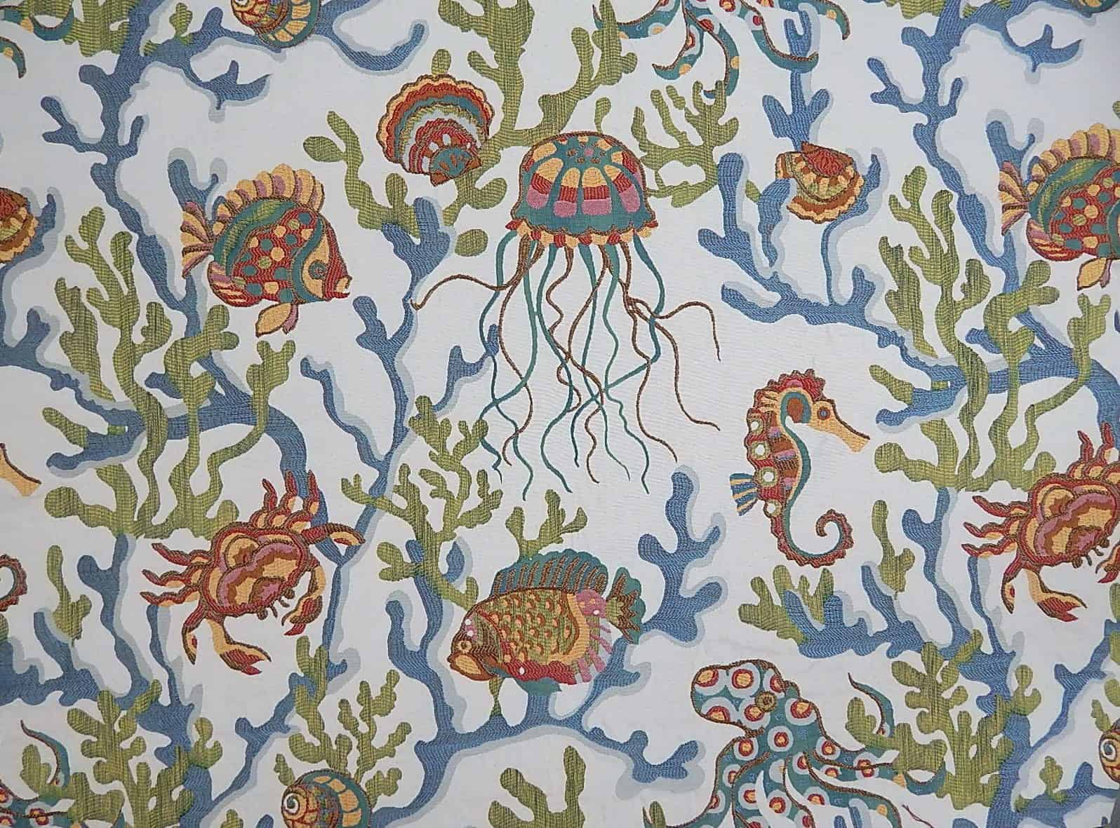 Swavelle Mill Creek Crab Walk Aqua 1502 Fabrics