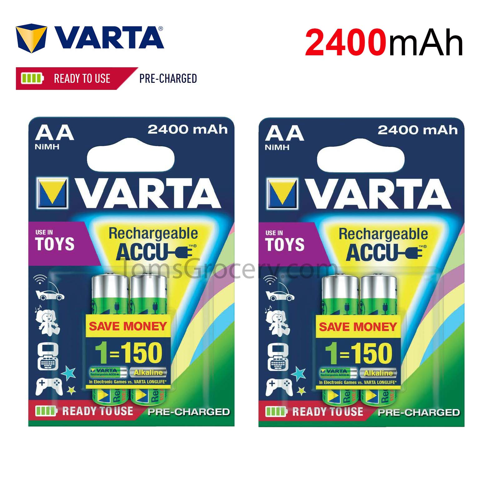 Accu Rechargeable Details About 4 X Varta Aa 2400 Mah Rechargeable Accu Batteries 56756 Hr6 1 2v