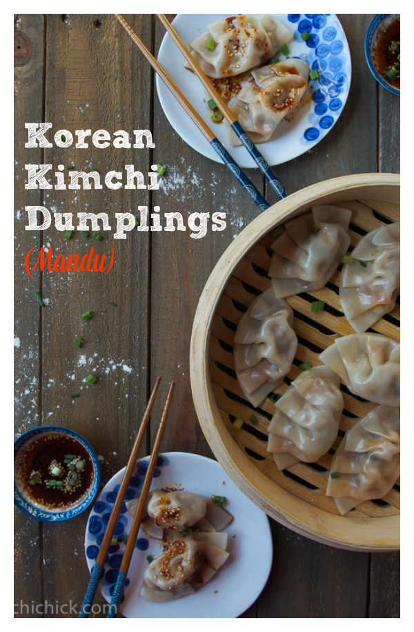 Korean Kimchi Dumplings - follow this simple recipe to make flavorful, juicy dumplings just in time for New Years Day! Kimchi, pork, beef, and tofu create the perfect filling for these yummy dumplings. So Good!!! | www.kimchichick.com