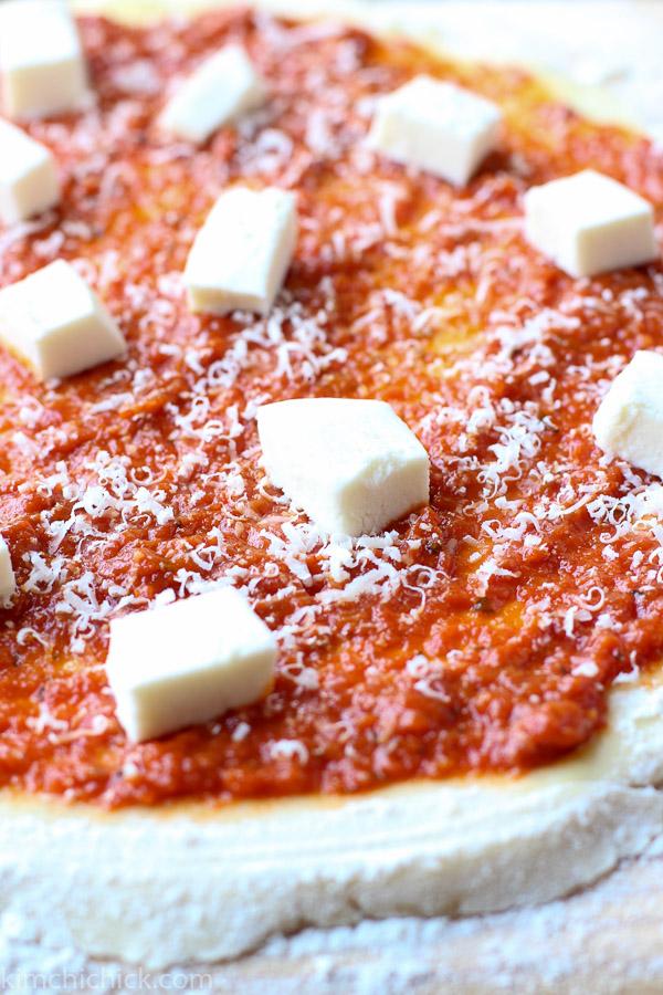 Kimchi Prosciutto Pizza mozzarella topping