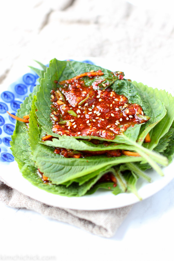Perilla Leaf Kimchi can be made quickly and easily and tastes awesomely peppery and earthy. One bite and you'll be going back for more!