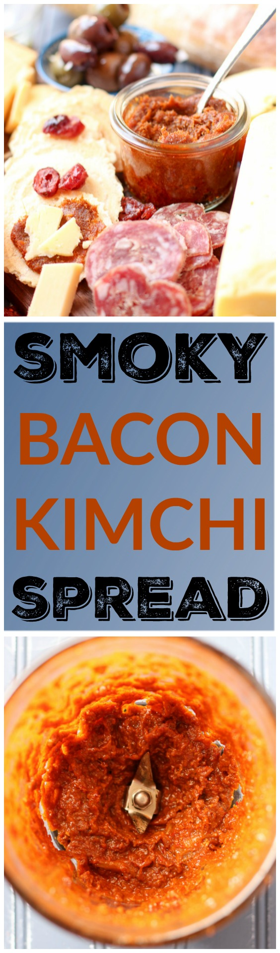 Your party ready cheese board isn't complete without this Smoky Bacon Kimchi Spread. Salty bacon and spicy kimchi join forces to make one flavorful spread. It's as simple as cook, blend, serve! www.kimchichick.com