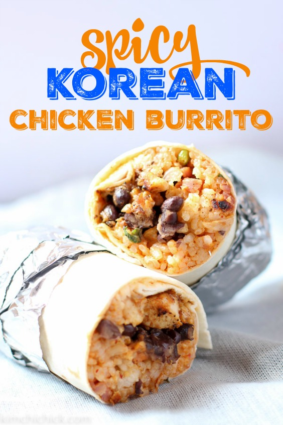 Make your own flavor packed spicy Korean chicken burrito at home! Sweet beans, spicy Korean chicken, kimchi fried rice, and gochujang crema rolled into one soft tortilla shell. Delicious and satisfying! |www.kimchichick.com