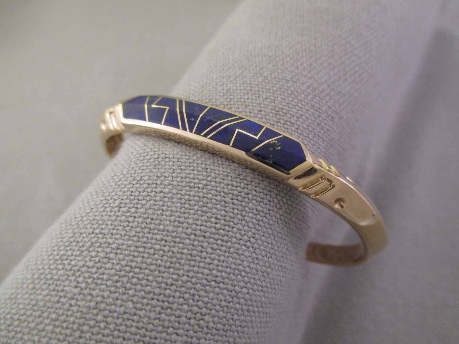 Gold Lapis Inlay Bracelet Native American Jewelry