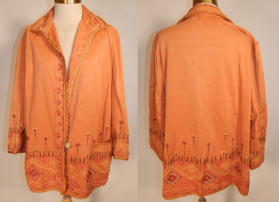 Art Deco Style Jackets 1920s Vintage Chamois Fabric Embroidered Native American