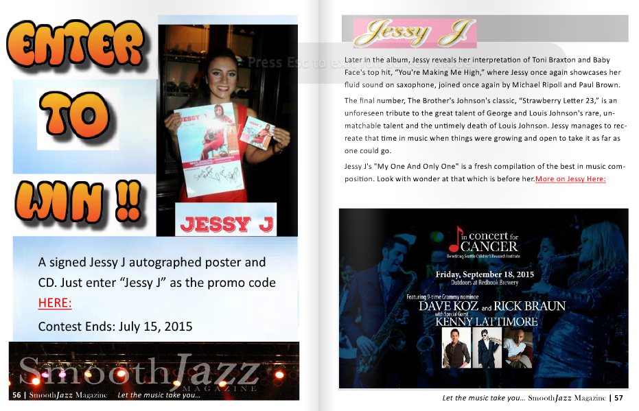 JESSY J 6-page Spread in July/Aug Issue of Smooth Jazz Magazine