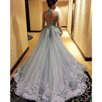 Grey Prom Dress, High Neck Prom Dress, Long Prom Dress ...