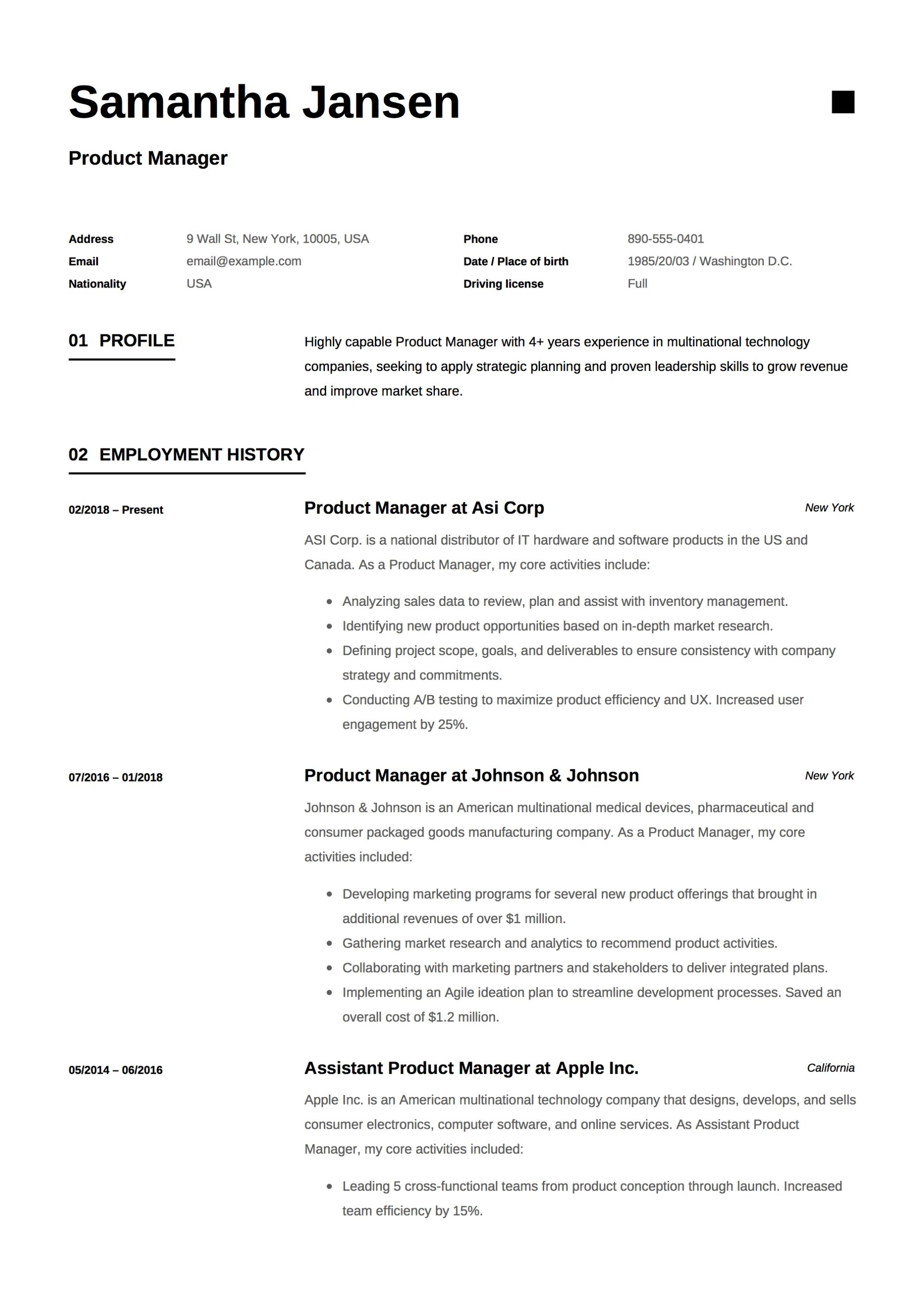 best product manager resume example
