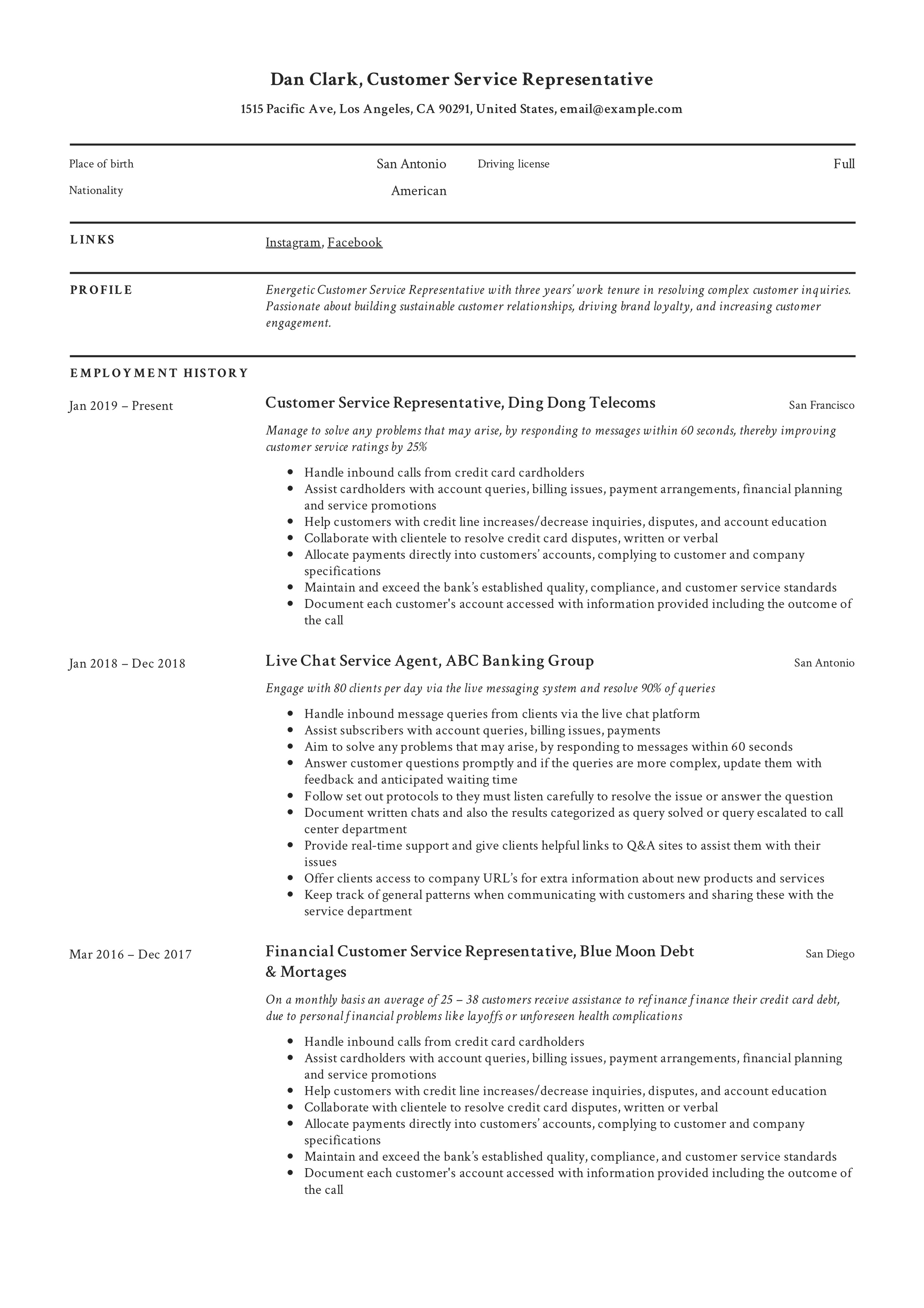 resume overview for customer service
