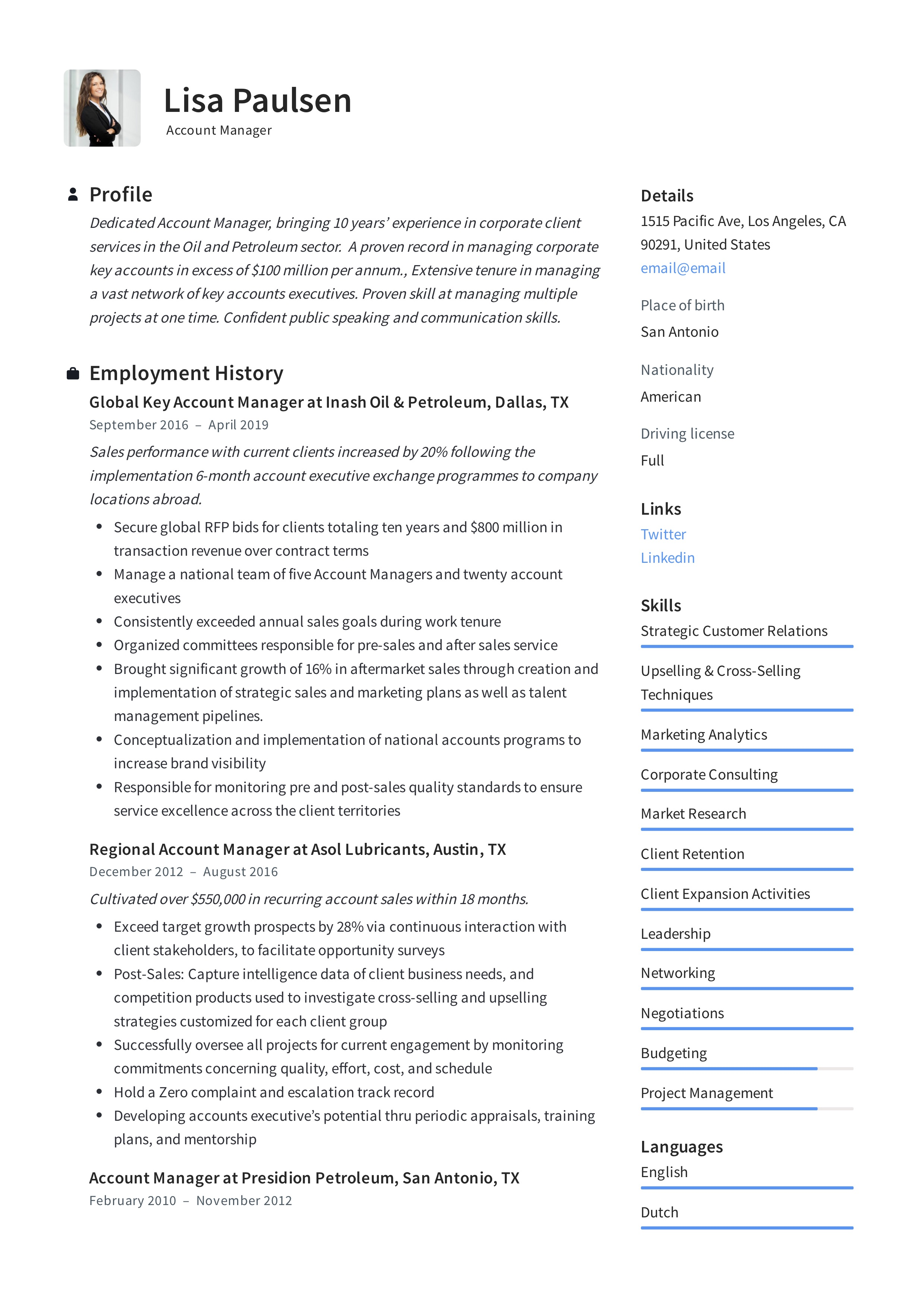 resume profile overview