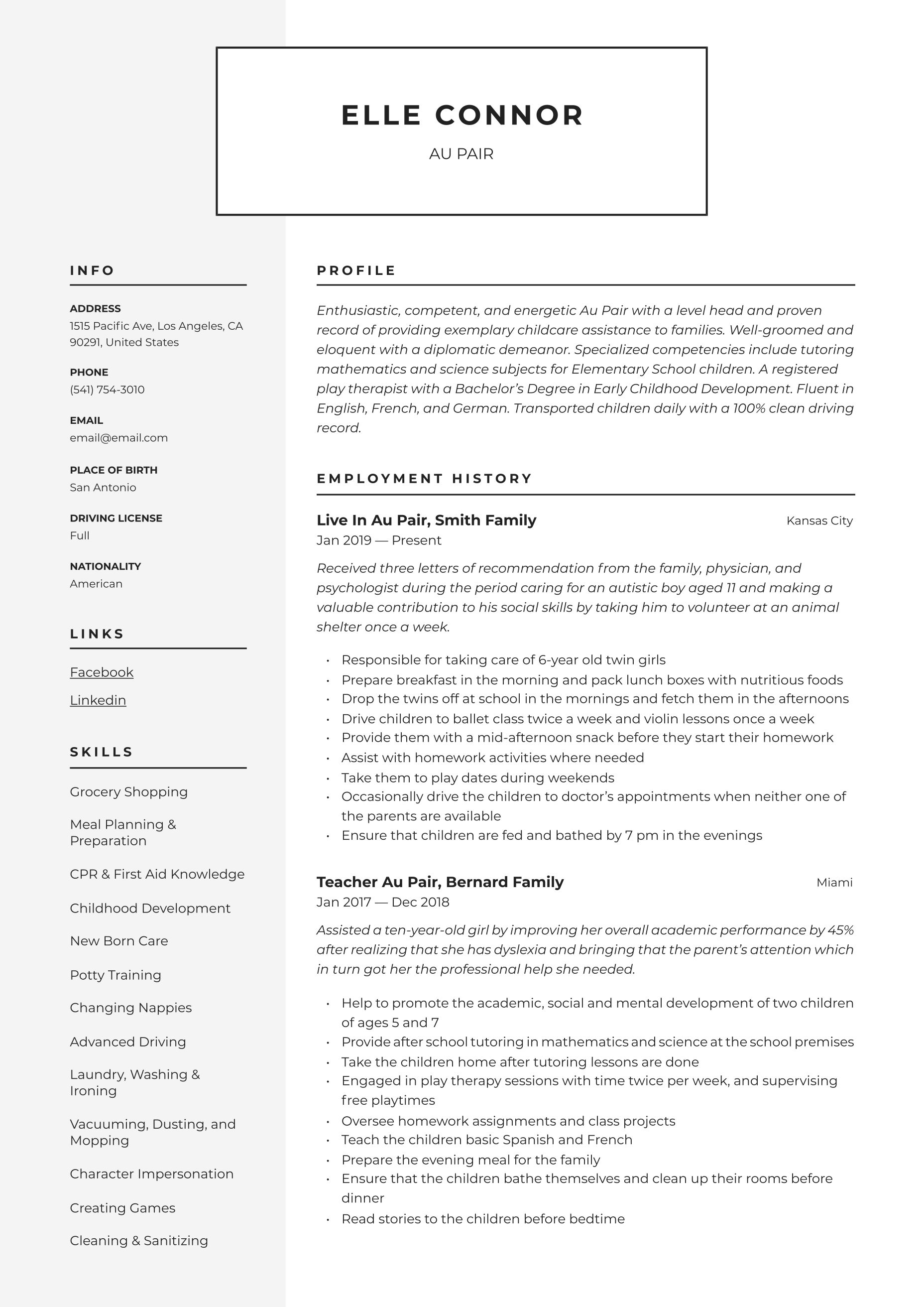 resume guide sample
